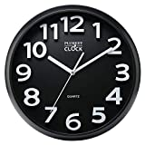 Plumeet Large Wall Clock, 13 Silent Non-Ticking Quartz Decorative Clocks, Modern Style Good for Living Room Home Office Battery Operated (Black)