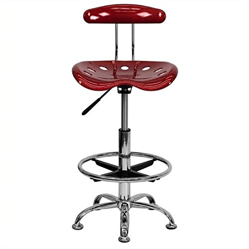 Scranton and Co Drafting Chair in Wine Red and Chrome