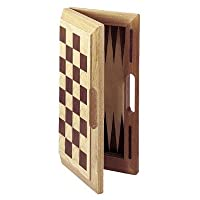 Deluxe Wooden Chess, Checkers & Backgammon Set (Oak)