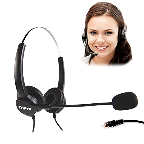 TRIPROC Binaural 4 Pin RJ9 Telephone Headset For Landline Phones