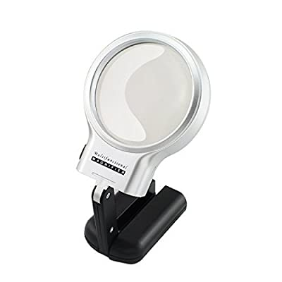 3X LED Light Hands Free Magnifying Glass with Light Stand Foldable Portable Illuminated Magnifier for Reading, Inspection, Soldering, Needlework, Repair, Hobby & Crafts: Office Products