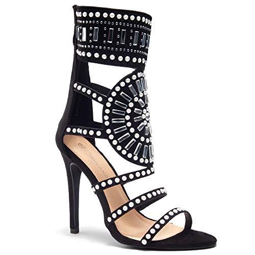 Herstyle Women's Fashion Crowd- Stiletto Heel, Jeweled Embellishment Black 10