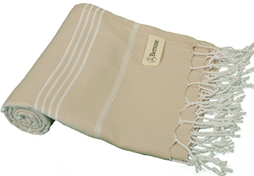 Bersuse 100% Cotton - Anatolia Turkish Towel - Bath Beach Fouta Peshtemal - Classic Striped Pestemal - 37X70 Inches, Beige (Set of 3) (Small Hang Diamond Tag)