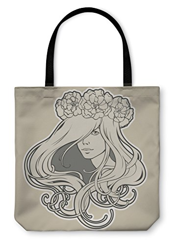 Gear New Shoulder Tote Hand Bag, Art Nouveau Styled Girl With Long Hair In Wreath, 18x18, 5758786GN