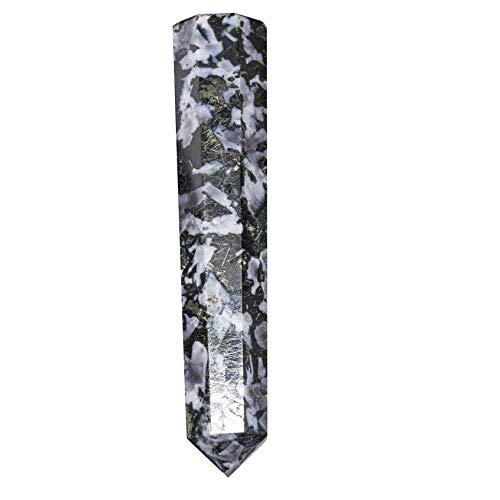 (FASHIONZAADI Serpentine Tourmaline Stone Healing Wand For Gemstone Chakra balancing Crystal Energy Generator Massage Therapy EMF Protection Aura Cleansing Peace (8 Fecet Pencil shape) Size: 4-4.5 Inch )