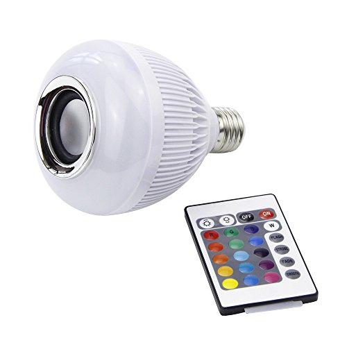 LMCO E27 12W Bluetooth Smart LED Light Bulb, Built-in Audio Speaker Music Playing, Dimmable RGBW 16 Color Changing with Remote Control for Home Stage Party Relaxation Decoration For Sale