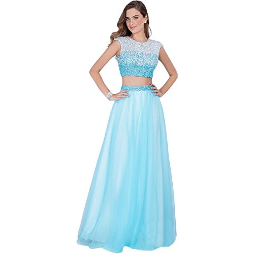 Terani Couture Pearl Prom Crop Top Dress Blue 2