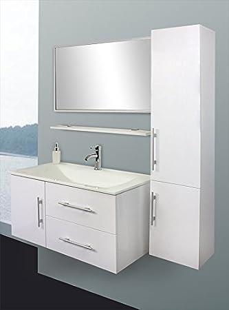 Design Badezimmermöbel Badmöbel Set Waschbecken Schrank Spiegel weiß ...