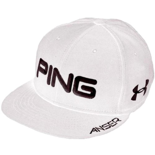 NEW PING Hunter Mahan Anser Under Armour Flatbill WHITE Fitted M L Hat Cap  (B00CKY0IXS)  164103d27925
