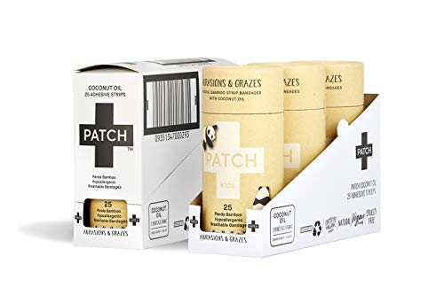 PATCH Kids Organic Bamboo Adhesive Strip Bandages with Coconut Oil, Panda, 25 Count (Pack of 3)