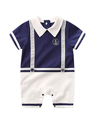 D.B.PRINCE Infant Newborn Baby Boy Long Sleeves Gentleman Romper Suits Dress Clothes Outfits with Bow Tie (LTY09, 0-3 Months) -