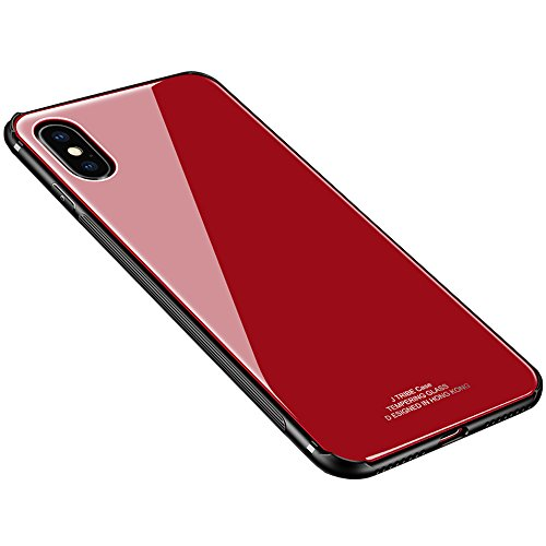 iPhone X Case, Weiduka TPU + Crystal Steel Tempering Glass Case, Mirror Glass Floral Pattern Painted Bumper Bare Machina Feeling Protective Phone Cover for iPhone X (Gorgeous Red)