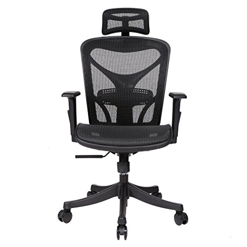 Kaluo Ergonomic Adjustable Drafting Chair Black-High Back Office Chair Mesh Stool Chair with Armrests-Headrest Height & Angle, Arm Pad Height, Chair Height Adjustment (Fits All Executive Conference Chair)