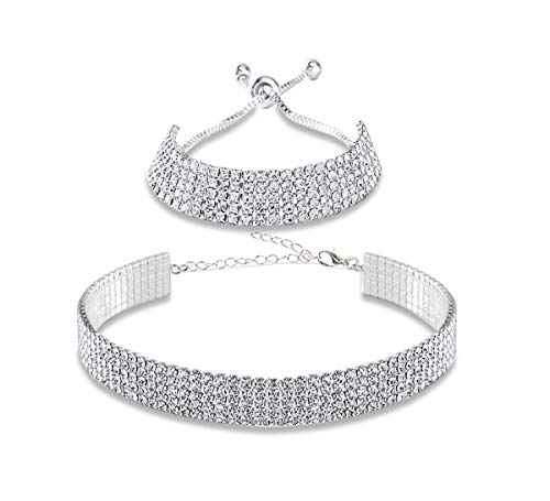 (Eoumy 5 Rows Crystal Diamond Choker Necklace for Women Silver Clear Rhinestone Necklace & Bracelet Wedding Gifts Jewelry)