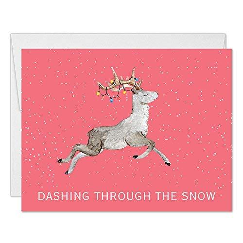 Reindeer Christmas Cards.Amazon Com Santa S Reindeer Christmas Cards 50 Pack With