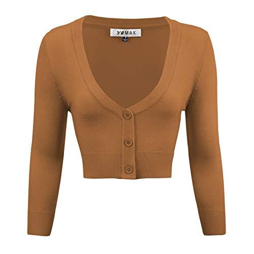 Shirred Knit Dress (YEMAK Women's Cropped 3/4 Sleeve Bolero Button Down Cardigan Sweater CO129-CAM-XL Camel)