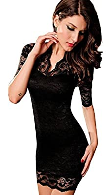 Holly O® #1 Best Seller Women's Sexy Black Lace V-neck Mini Dress Half Sleeves