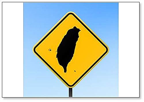 Taiwan Map on Road Sign Illustration Fridge Magnet