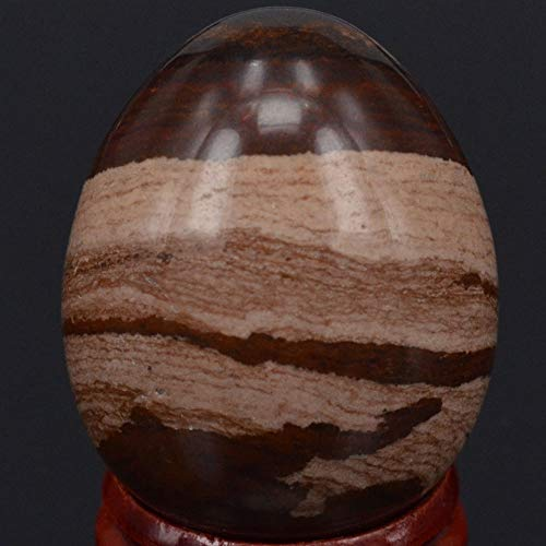 Bingo Point 34x44MM Natural Stone Chocolate Jasper Sphere Egg Healing Reiki Crafts Stone Massage Finger ()