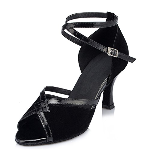 Latin Black Chunky Salsa Heel W517 Shoes Dance Peep Tango Toe Shoesland Dance Women's Ballroom zIwxY