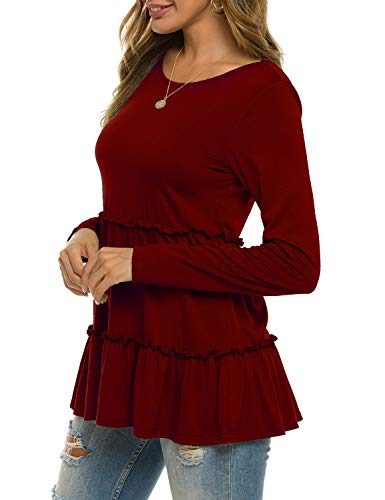 Sweetnight Womens Long Sleeve Babydoll Tunic Tops Loose Fitting Shirts Blouses Wine Red M