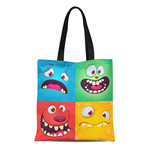 Semtomn Canvas Tote Bag Shoulder Bags Cartoon Monster Faces of Four Halloween Different Expressions Children Women's Handle Shoulder Tote Shopper Handbag -