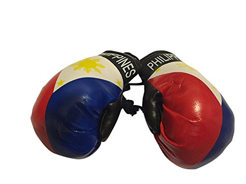 Flag Mini Small Boxing Gloves to Hang Over Car Automobile Mirror - Asia & Africa (3-Pack, Country: Philippines)