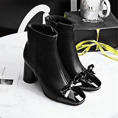 Damen Schuhe Kunstleder Winter Komfort Neuheit Stiefel Blockabsatz Quadratischer Zeh Booties / Stiefeletten Mit Schleife Für Hochzeit brown