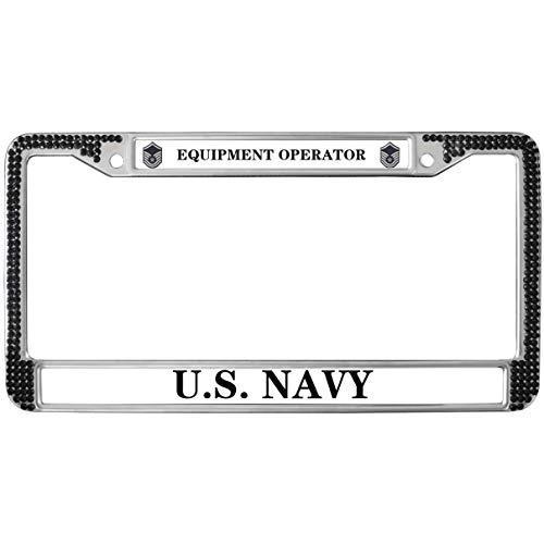 GND Rhinestone License Plate Frame,United States Navy License Plate Frame Black Diamond Equipment Operator Crystal Diamond Black License Plate Frame for US Vehicles