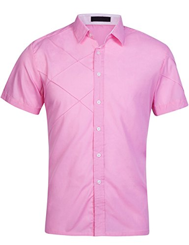 DOKKIA Men's Casual Business Short Sleeve Fitted Button Down Dress Shirts (Medium, Pink)