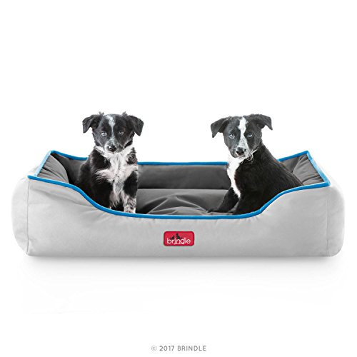BRINDLE Waterproof Bolster Dog Bed with Reversible Color Design - Durable Indoor or Outdoor Pet Bed - Machine Washable - Soft Fiber Filled - Medium - Smoke Blue