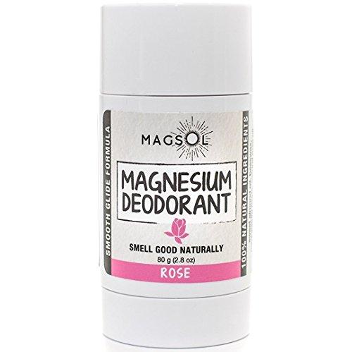Rose Magnesium Deodorant - Aluminum Free, Baking Soda Free, Alcohol Free, Cruelty Free, Sensitive Skin, All Natural, For Women Men Boys Girls Kids, Magnesium Deodorant 2.8 oz (Lasts over 4 months) by MagSol Organics