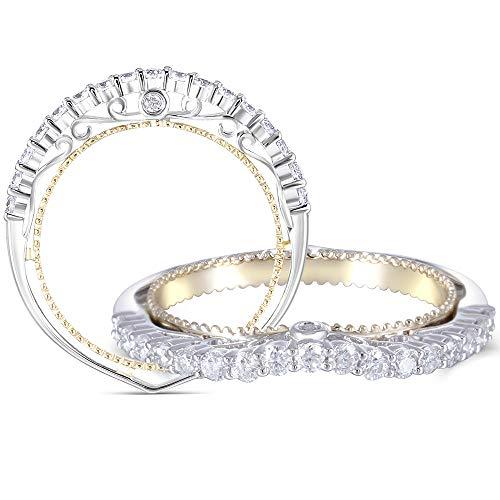 DovEggs 14K Two Tones Gold Moissanite Engagement Rings Half Eternity Anniversary Wedding Band for Women ()