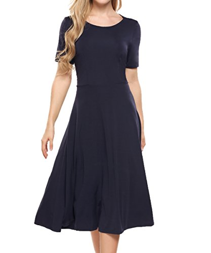 ACEVOG Women's Casual Backless Open Back Scoop Neck Fit and Flare A Line Midi Dress,Blue,XL ()