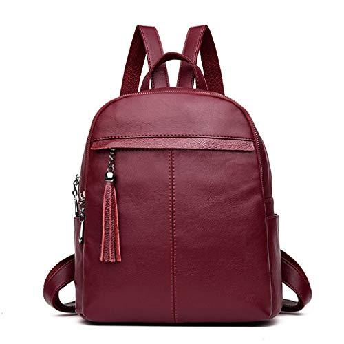 Bags Pu Black School Burgundy Leather Backpack Women Tassel Backpacks fwqaxag