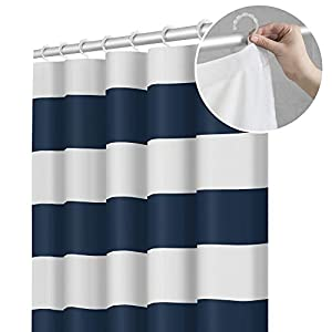 Maytex Smart Porter Stripe Fabric Shower Curtain with Attached Roller Glide Hooks, 70 inch x 72 inch, Indigo Blue