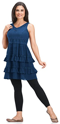 HolyClothing Shania Gypsy Ruffle Chiffon Hem & Lace Tunic Dress - Small - Blue (Divine Lace Dress)