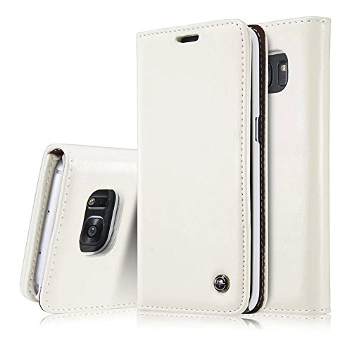 S7 edge Case, Galaxy S7 edge Wallet Case,AKHVRS Slim Genuine Leather Magnet Cover Wallet Leather Case Flip Cover Folio Case,[Card Slot][Wallet][Magnetic Closure] for Samsung Galaxy S7 edge (White)