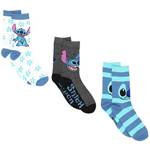 Disney Lilo & Stitch 3 pack Crew Socks (9-11 (Shoe: 4-10), Stitch White/Blue) ()