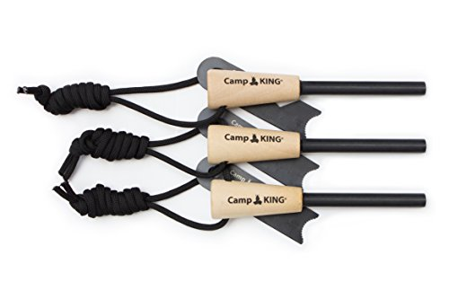 3 Pack Firesteel  Ultimate Survival Fire Starter With Wood Handle  5 16 Thick Ferro Rods By Campking
