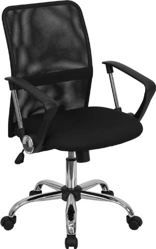 Flash Furniture GO-6057-GG Mid-Back Black Mesh Computer Chair with Chrome Finished Base