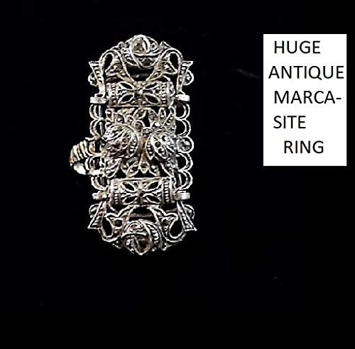 (1 1920 Huge Marcasite Rose Silver Ring, Open Work Figural Sterling Floral, Swirls, Leaves, Scallops Ring, Marked 925, Size 8 3/4 )