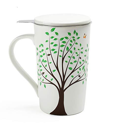 (TEA SONG Ceramic Tea-Mug(18 oz) with Infuser and Lid, Jupiter, Dad Mom Women Teaware with Filter Green Tree Tea Cup Steeper Maker, Brewing Strainer for Loose Leaf, Diffuser mug set for Tea Lover Gift)