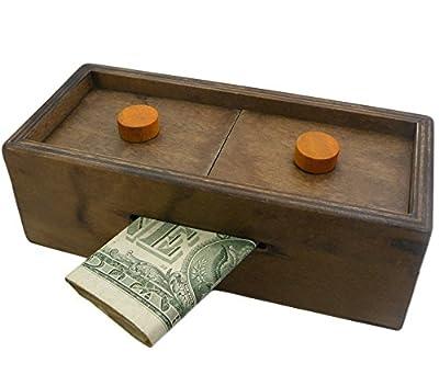 Enigma Secret Puzzle Box 3 - Money or Gift Card Trick Box Piggy Bank Brainteaser Wooden Secret Compartment Brain Game