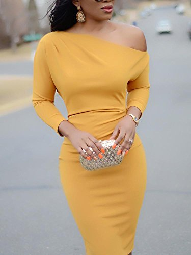 Dress Shoulder One Elegant yellow Off Women Party Bodycon DUBACH A wvI0qHEx
