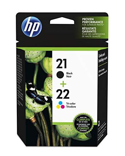 HP 21 Black & 22 Tri-color Original Ink Cartridges, 2 Cartri