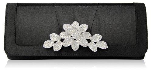 Damen Mode Clutch Tasche Blume Kristall Schwarz