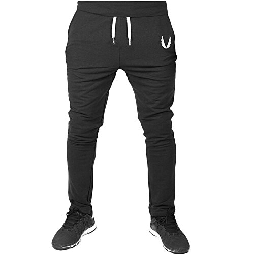 Kstare Men's Jogger Casual Elastic Fitness Workout Running Gym Pants Sportswear Trousers Sweatpants (L, Black)