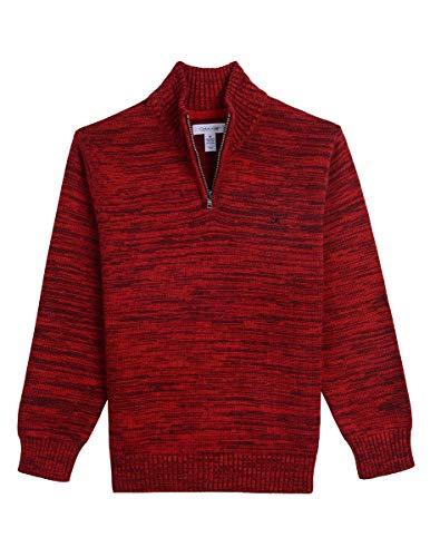 Calvin Klein Big Boys' Half Zip Sweater, Moto red, M10/12 (Calvin Klein Embroidered Sweater)