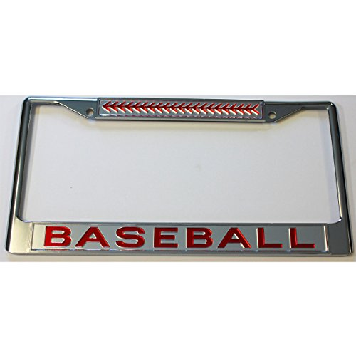 Baseball Acrylic License Plate Frame Car Tag CLR/RED - Baseball License Plate Plates Tags